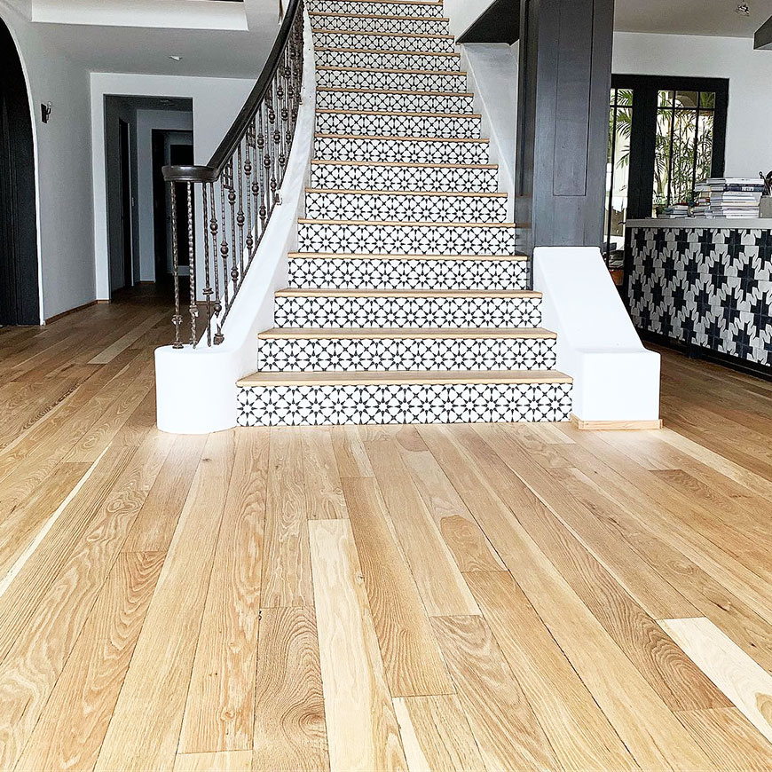 White Oak floors with custom staircase