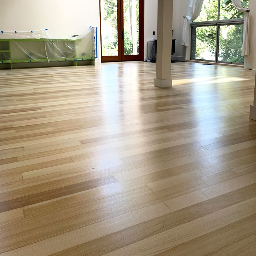 Bleached Sapele floor in Laurel Canyon, CA