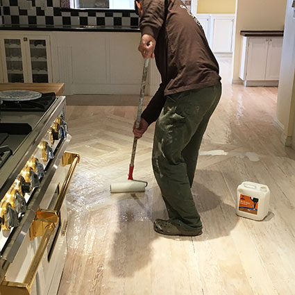 Coating hand-scraped floor West Hollywood