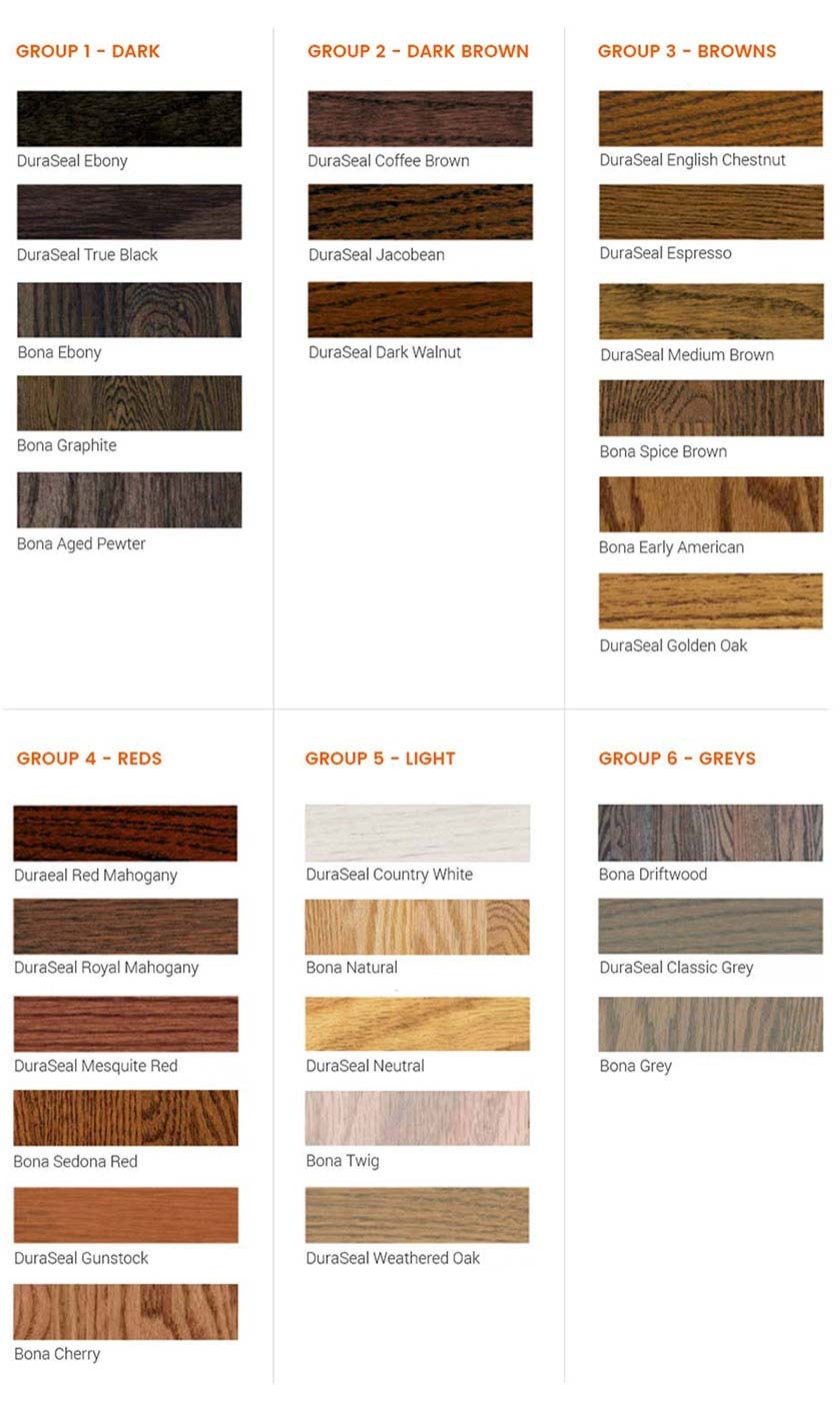 choice of stain colors